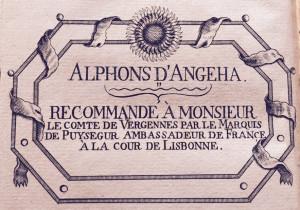 Visitenkarte des Alphons D'Angeha