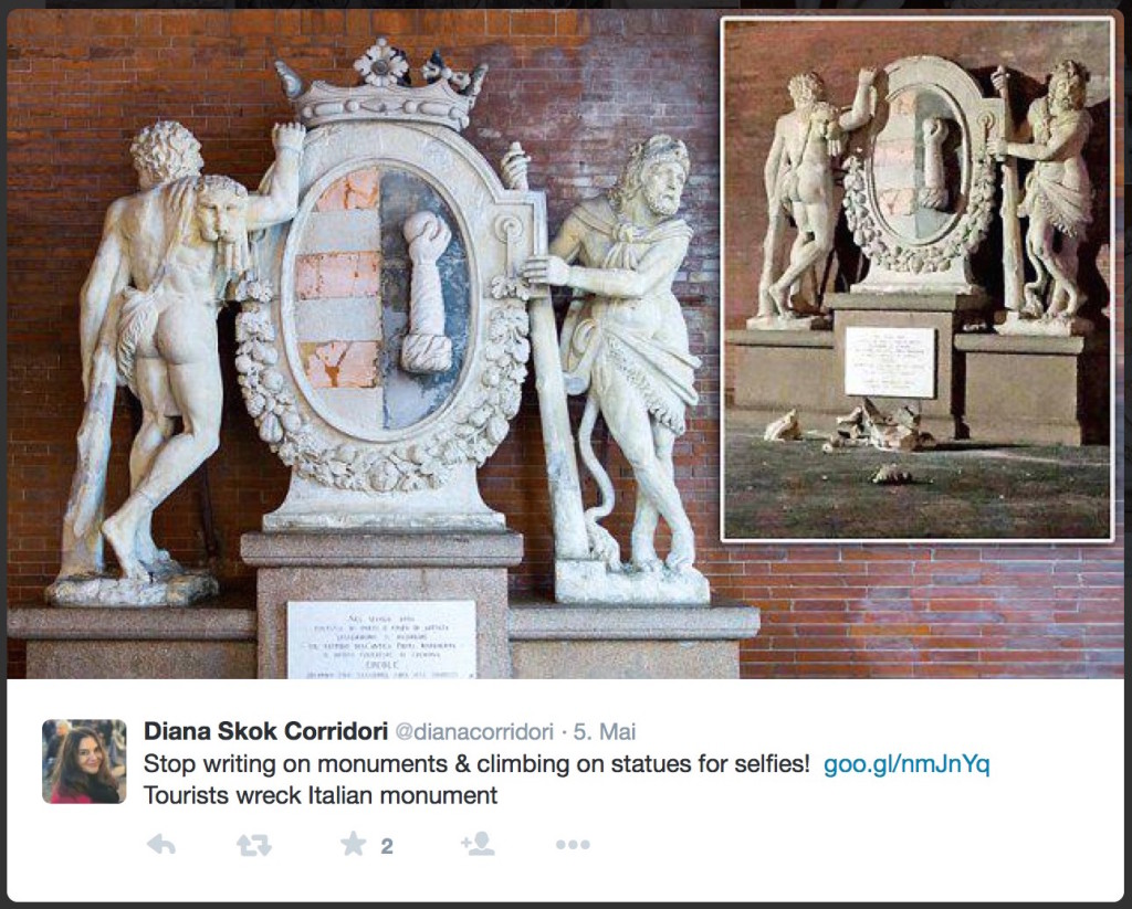 Cremona Statue Destroyed Selfie