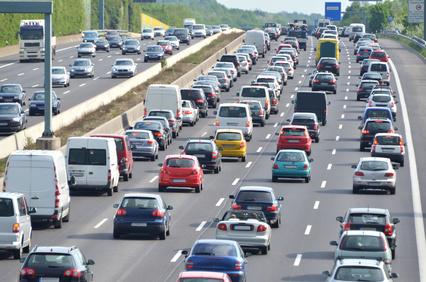 Verkehrsstau auf deutscher Autobahn