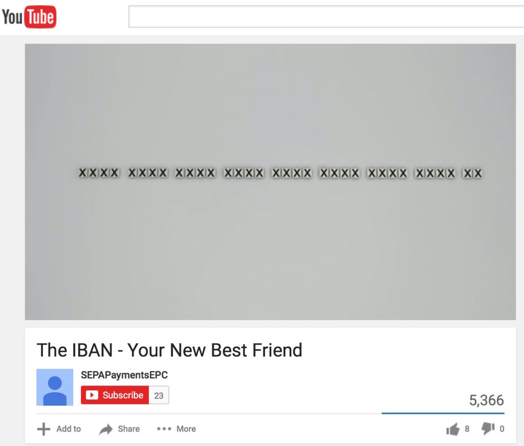 "Kein Scherz! Standbild aus dem YouTube Video ""The IBAN - your new best friend"""