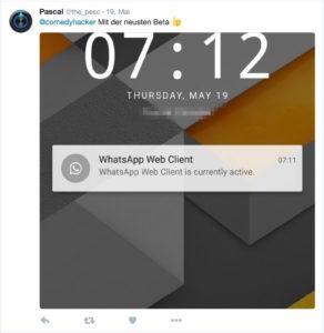 WhatsApp Web Warnung
