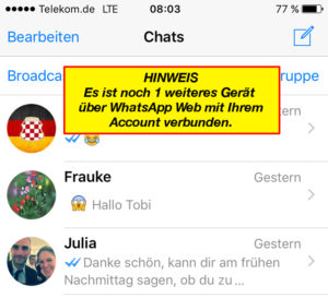 whatsapp web warnung