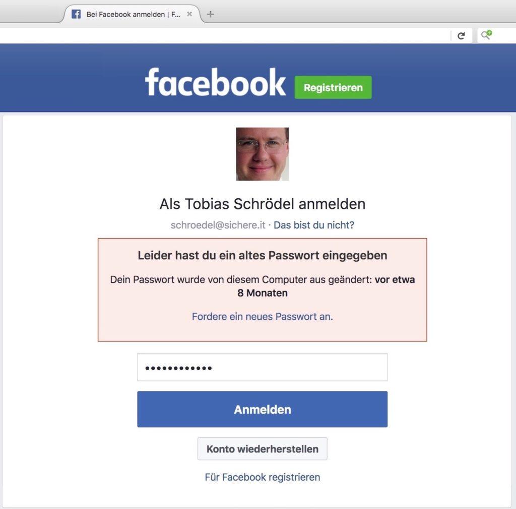 Passwörter ändern bei Facebook