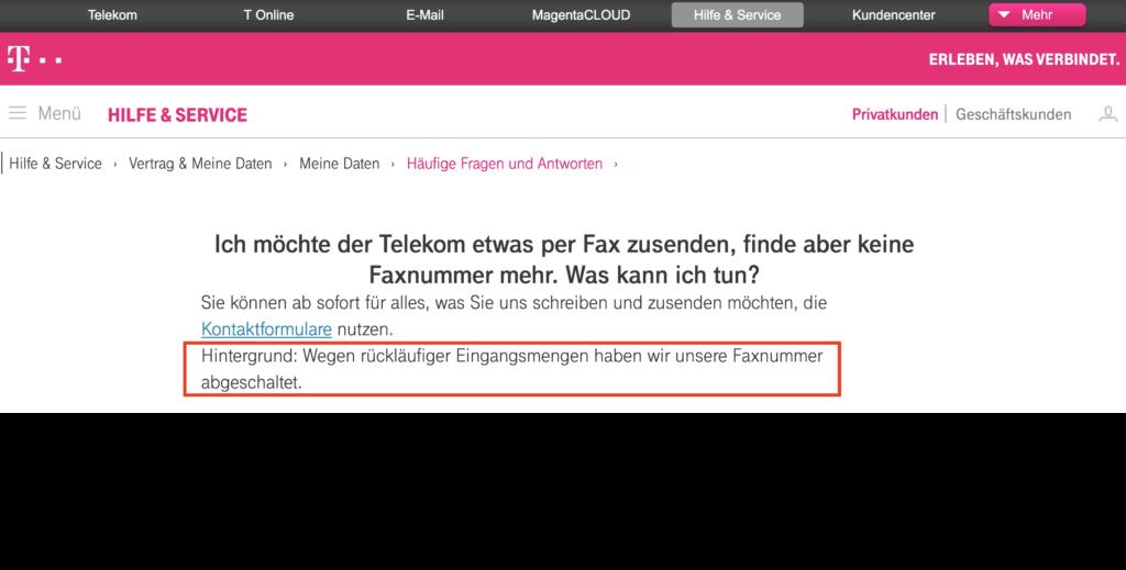 Kein FAX-Gerät mehr bei der Telekom